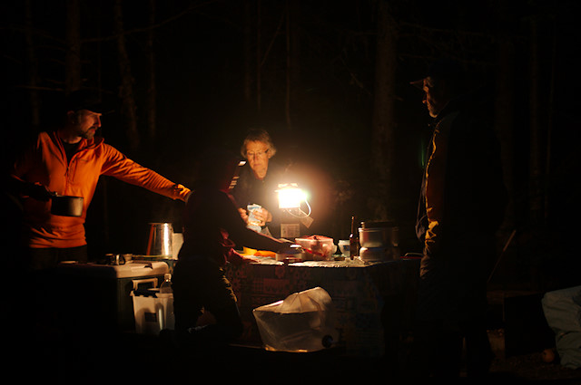 Camp meal at Forillon National Park